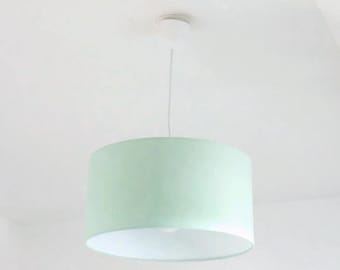 Chandelier hanging ceiling light green pastel Scandinavian - cylindrical Lampshade - round - cylinder + wire - gift idea - hygge