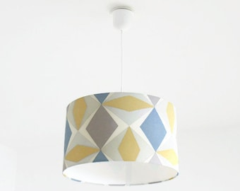 Chandelier hanging ceiling light geometric pattern Scandinavian - cylindrical Lampshade - cylinder + wire - gift idea - birthday