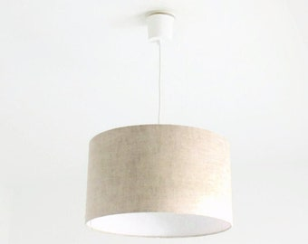 Chandelier hanging ceiling light linen - cylindrical Lampshade - round - wire + cylinder - gift idea