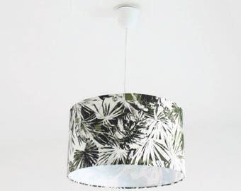 Chandelier hanging ceiling light-jungle - leaf Palm tree tropical - khaki - cylindrical Lampshade - round - cylinder + wire