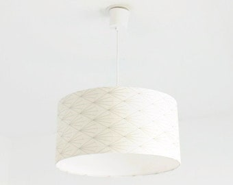 Chandelier hanging ceiling lamp - art deco - gold and silver pattern - cylindrical Lampshade - round - cylinder + wire