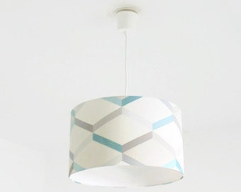 Chandelier hanging ceiling light geometric - Scandinavian - blue-grey - cylindrical Lampshade - round - cylinder + wire