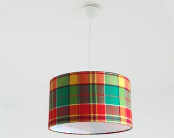 Chandelier hanging ceiling light madras - Caribbean - Caribbean - Plaid - cylindrical Lampshade - round - cylinder + wire