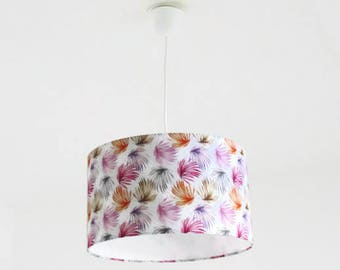 Chandelier hanging ceiling light leaves exotic multicolored - tropical - Palm tree - cylindrical Lampshade - round - cylinder + wire