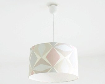 Chandelier hanging ceiling light shade pastel Scandinavian geometric pattern day cylindrical cylinder + wire - birthday gift idea