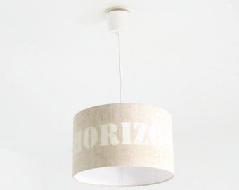 Chandelier hanging ceiling light linen - Horizon - cylindrical Lampshade - cylinder + wire - lampshade