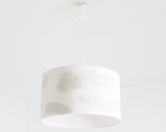 Hanging ceiling chandelier - feathers - cylindrical Lampshade - round - cylinder + wire - gift idea - birthday