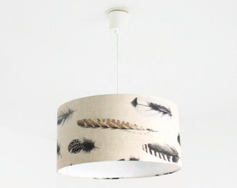 Chandelier hanging ceiling lamp holder feathers - romantic - cylindrical Lampshade - cylinder + wire - gift idea - birthday