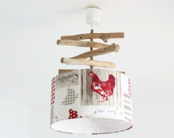 Chandelier Lampshade Driftwood cylinder 35 cm red hen - closed country kitchen rustic hanging ceiling cylindrical gift idea