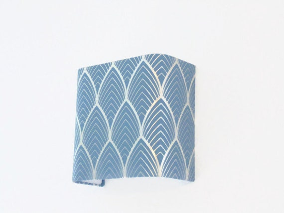 Applique wall art deco blue and silver geometric square etsy