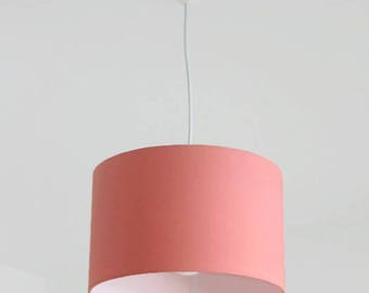 Chandelier hanging ceiling light pink pastel coral Scandinavian - cylindrical Lampshade - round - wire + cylinder - gift idea for her