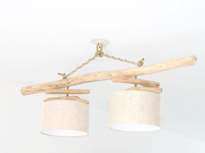 lustre plafonnier bois flott lin 30 cm cr ation unique. Black Bedroom Furniture Sets. Home Design Ideas