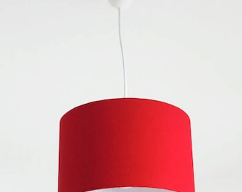 Chandelier hanging ceiling light red - cylindrical Lampshade - round - cylinder + wire - gift idea - red