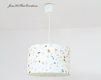 lampshade or suspension white terrazzo pattern gift idea christmas birthday decoration trendy mineral speckled colorful graphic