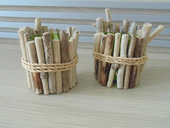 Pots à crayons bois flotté lot de 2 accessoire de bureau deco etsy