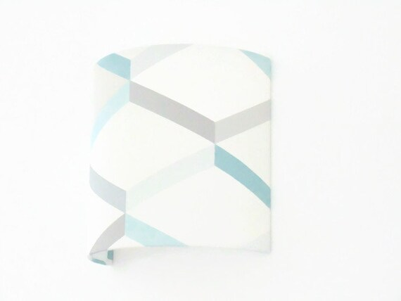 Applique wall scandinavian blue grey geometric half cylinder etsy