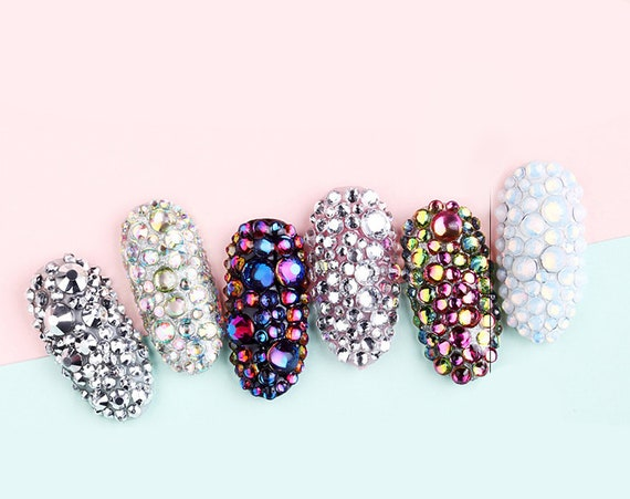 Ab Crystal Nail Rhinestones For Nails Art Decorations Metal Gold Silver Multi Size Mixed Nail Art Decal Ab Gem Decoration 3d Gems Stud