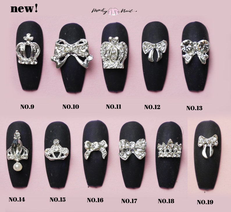 309a17dee3 2 pcs 3D Metallic Silver Rhinestone nail studs / crown and bow tie charm  Nail design nail art/ Manicure Nail 3D decorations