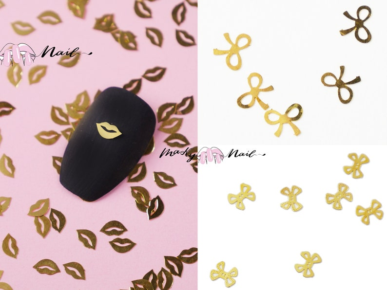 50 pcs Nail supply flat Gold Metallic studs /cute bow tie image 0