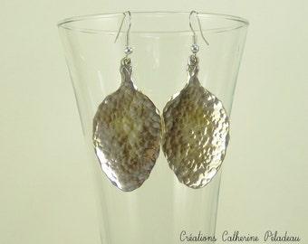 brass moon earrings boho Hammered  M O O N crescent earrings crystal quartz peach quartz