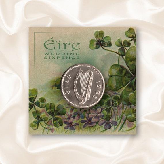 wedding sixpence irish harp and shamrock etsy