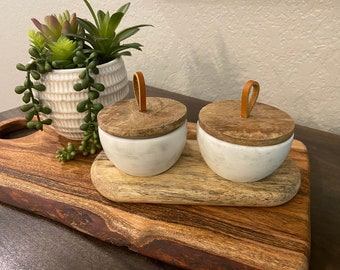 Marble Salt and Pepper Jars Wood and Marble Seasoning Containers Salt and Pepper Containers with Display Tray
