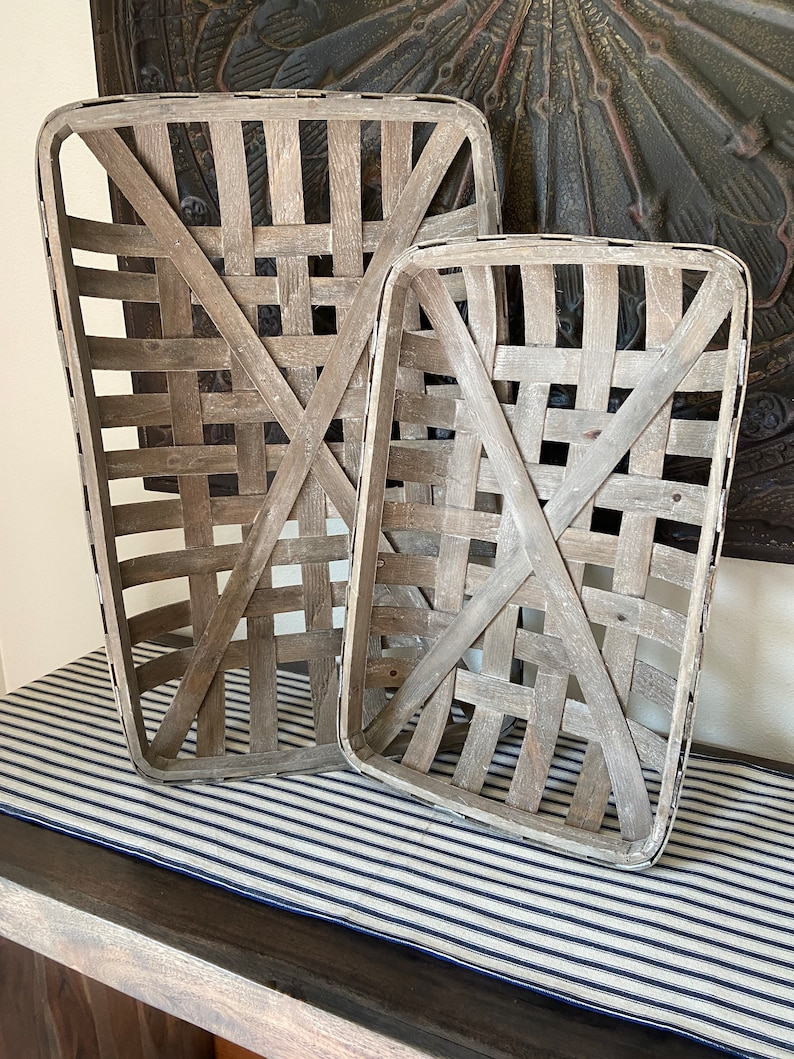 Set Of 2 Gray Tobacco Basket Farmhouse Decor Shabby Chic Wall Etsy