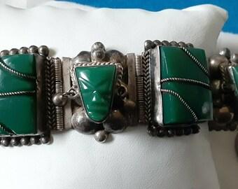 125.00 STERLING CHIPPED TURQUOISE TaXCo LiNk BraceLET 7-12 AzteC CalenDar StonE AzteC TeMPLE SoMBReRO ViNTAGE WeSTERN INLay BrACELET