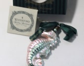 Waterford Green and Peach SeahorseChristmas Tree Ornament, Retired, Boxed, Excellent condition