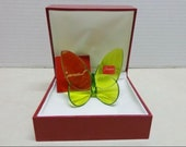 Baccarat Green Lucky Butterfly with Box, sticker and pamphlet, Great Gift Idea