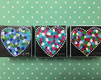 "HEARTS - set of 3 minis- Original Acrylic Painting - 3"" X 3"" x 1.5"""