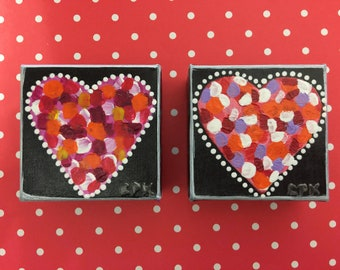 "HEARTS - set of 2 minis - Original Acrylic Painting - 3"" X 3"" x 1.5"""