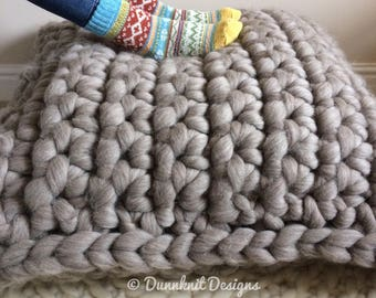 The Shakerley Giant Floor Cushion -Shetland / Merino Pillow - Oversized Extra Large Chunky Knit - Duck Feather filled  - 85cm x 85cm x 30cm