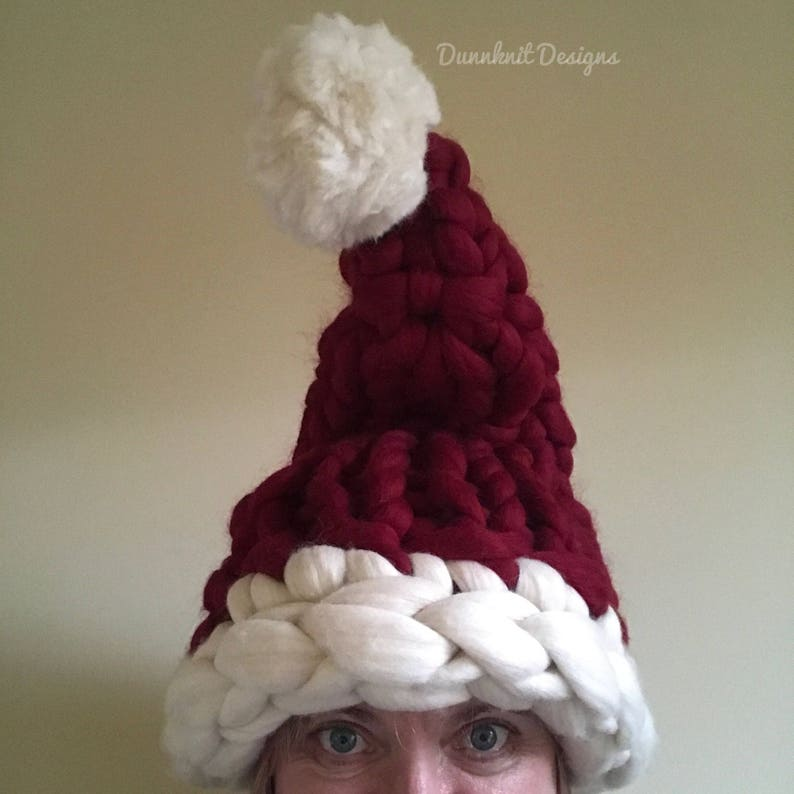 4d9aa6ee4d2 Chunky Knit Santa hat Knitted Santa Hat Christmas Hat