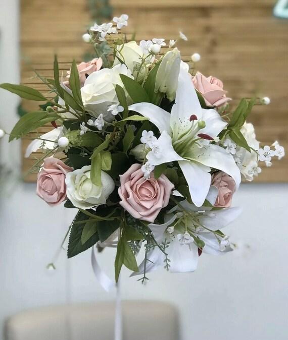 Artificial Wedding Bouquet Bride Bridal Bridesmaid White Etsy