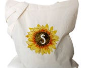 Sunflower Gifts - Monogram Tote - Canvas Tote Bags  - Sunflower Monogram Totes