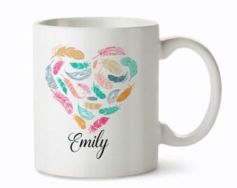 Unique Coffee Mugs - Custom Coffee Mug - Feather Mugs - Custom Name Mugs - Personalized Mug - Unique Mug - Custom Feather Mug