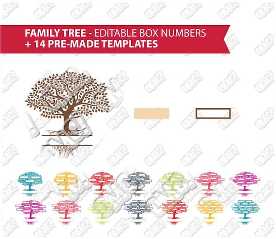 Family Tree Templates Editable Name Box Numbers Svg Dxf Eps Etsy