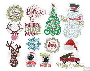 Christmas SVG Bundle svg dxf eps jpeg layered cutting files download clipart screen print die cut decal vinyl cutter cricut silhouette