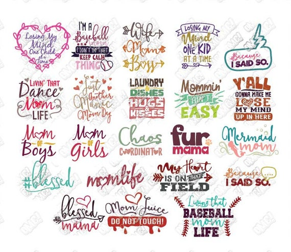 Mom Life SVG Bundle Mothers Day Blessed Quotes Sayings svg dxf eps jpeg png  format layered cutting files clipart die cut cricut silhouette