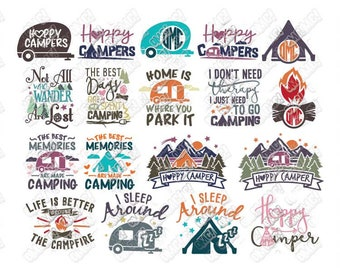 Camper SVG Bundle Camping Caravan Travel Adventure Monogram svg dxf eps jpeg png clipart cricut silhouette cut files