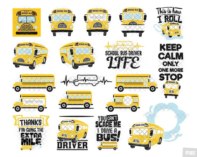 School Bus SVG Driver Monogram Split Quotes Phrases svg dxf eps jpeg png  format layered cutting files clipart die cut cricut silhouette