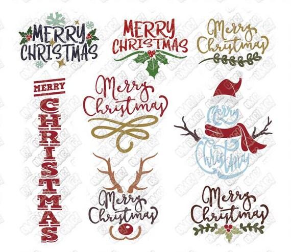 Merry Christmas Svg Bundle Quotes Sayings Snowman Mistletoe Etsy