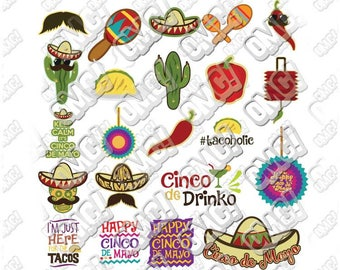 Cinco de Mayo Bundle svg dxf eps jpeg format layered cutting files clipart screen print die cut decal vinyl cutter cricut silhouette