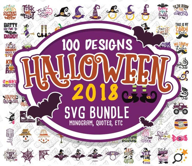 Halloween Svg 2018 Bundle Monogram Quotes Svg Dxf Eps Jpeg Png Etsy