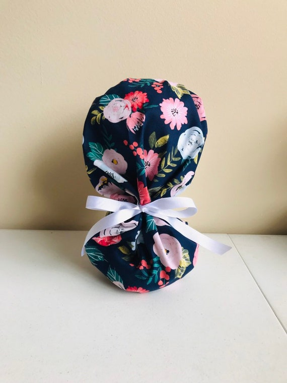 Labor and Delivery Floral Ponytail Scrub Cap Floral Surgical  40ce5ee6c11