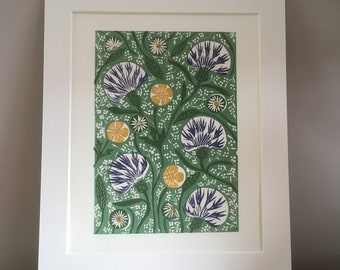 "Wild flowers Lino Print, Floral block print, Green plants Art, 8x10"" wall art, William Morris style artwork, 10x12"" artwork, Handmade print"