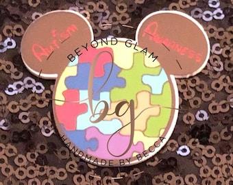 Elijah's Inspired Mickey Autism Awareness BROOCH/ brooch/kawaii /autism/mickey Brooch  mickey inspired pin/ autism awareness