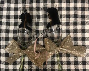 Disney Inspired Princess Tiana Prince Naveen I'm hers I'm His Wedding Champagne Glasses Flutes