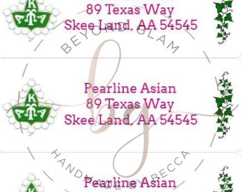 Alpha Kappa Alpha Ivy inspired Address Labels- 60 labels